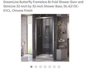 DreamLine Butterfly Frameless Bi-Fold Shower Door NEUF