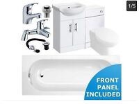 Complete Bathroom Suite Standard Bath 1700 + Vanity Unit + Concealed WC Unit