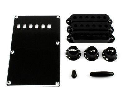 Black Accessory Kit Knobs/Covers/Back Plate for Fender Strat® PG-0549-023