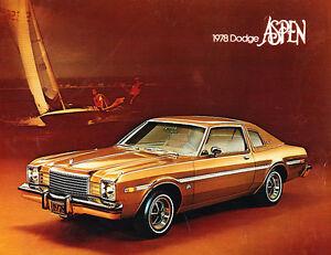 1978 dodge aspen deluxe original sales brochure catalog rt r t super