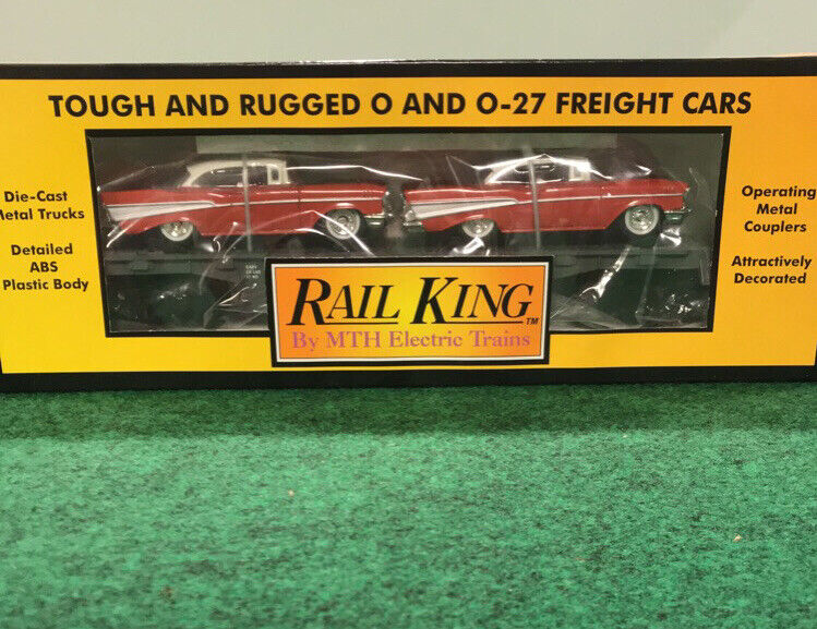 RAIL KING MTH LINES WITH ERTL 57 CHEVYS SEMI-SCALE FLAT CAR ITEM NO. 30-7610