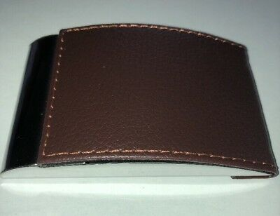 Brown Faux Leather Wchromemirror Business Card Holder With Magnetic Closure