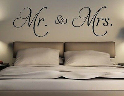 Mr and Mrs Vinyl wall Decal Just Married Master Bedroom Personalize Wedding gift