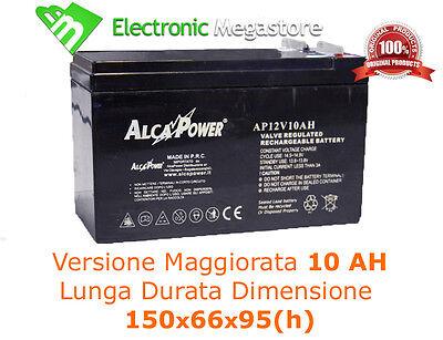 Batteria Ermetica Ricaricabile al Piombo 12V Volt 10Ah per bici elettriche