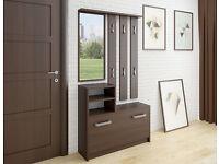 Modern Hallway Furniture Set with mirror, storage bench, coat hanger, shoe cabinet storage sideboard