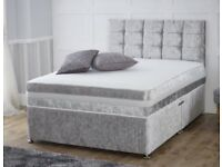 Crushed Velvet Double Bed w/ Headboard and Matress