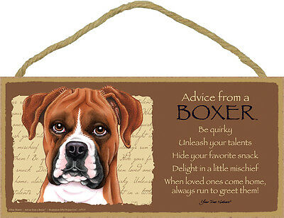 ADVICE FROM A BOXER wood SIGN wall hanging PLAQUE uncropped puppy dog USA MADE