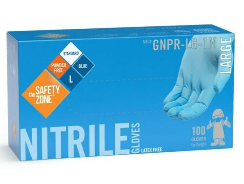100 SAFETY ZONE BLUE NITRILE GLOVES POWDER FREE, CLEANING or FOOD SERVICE M L XL