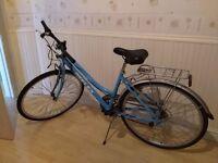 Reflex Women's City Trekking Bike – Blue (no basket), with U-shape lock