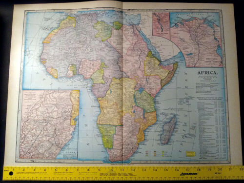 1904 AFRICA Monarch Standard Atlas Map 16 inch x 22  inch Beautiful! Color M63
