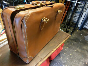 Vintage Suitcase leather briefcase luggage Large CHRISTIE Top Gr