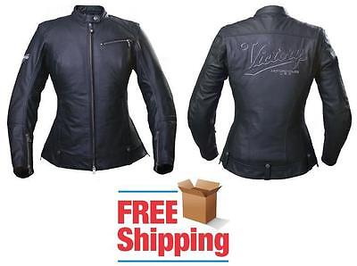 Victory Classic Womens Motorcycle Jacket Leather W/ Quilted Liner & Armor
