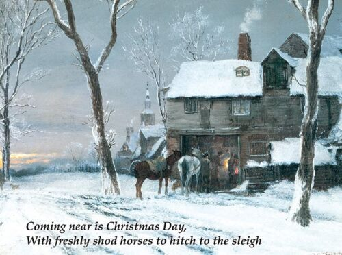 Coming Near is Christmas Day Farrier Blacksmith Shop Horseshoer Christmas Cards