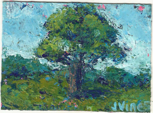 OAK Original Abstract Knife Landscape Tree Painting ACEO mini ART 2.5x3.5in SFA