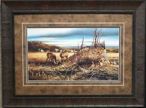 terry redlin sharing the bounty deer pheasant print framed