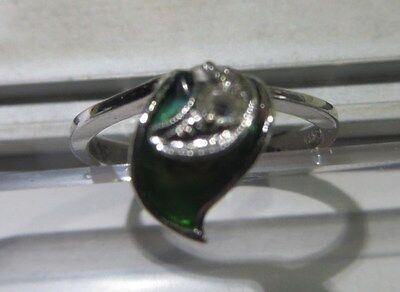 """Bague (2)  en argent avec zircon et céramique verte – 2 poinçons  dont 1 """"925""""–"""