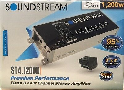 Soundstream St4 1200D 1200 Watt Compact 4 Channel Motorcycle Car Audio Amplifier