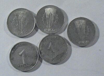DDR 1 Pfennig Münzen Prägedatum 1950 -  5 Stück im Set