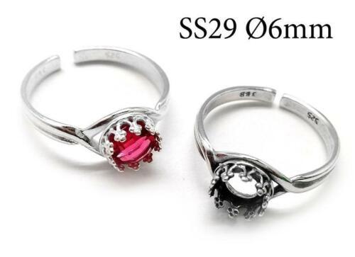 2pcs Sterling Silver Adjustable Ring, Bezel Cup 6mm, Crown Bezel Ring, JBB