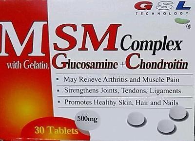 Msm Complex   Gelatin Glucosamine Chondroitin  30 Ct 500Mg Arthritis Joint Pain