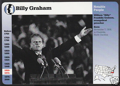Billy Graham Preacher Tv Evangelist Grolier Story Of America Bio Card