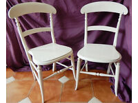 Pair of vintage kitchen chairs in an unusual shape with nice fretworked underside & quite old?