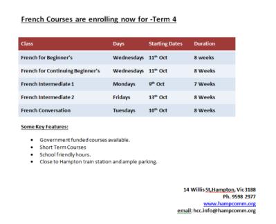 Hampton Community Centre - Term 4 dates