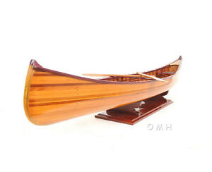 Cedar-Strip-Built-Canoe-Model-44-With-Ribs-Hand-Crafted-Wood-Boat-New