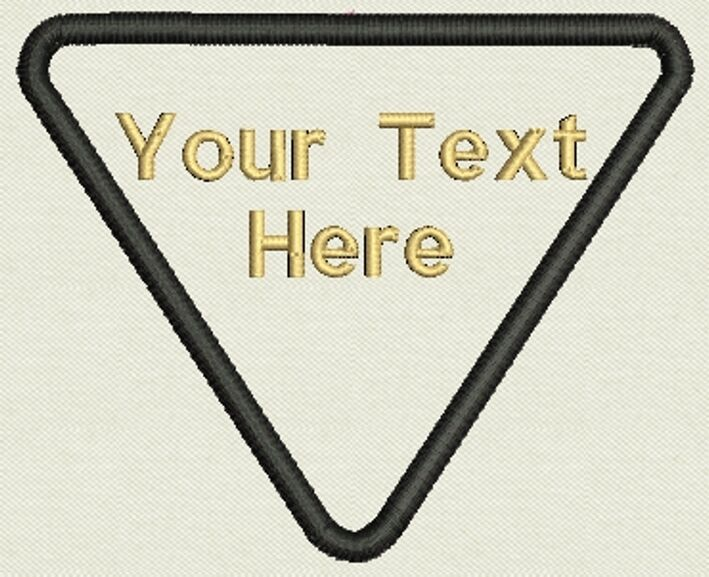 """Custom Triangle Patch  3.80"""" x 3.25""""- Add text - Iron On, or Sew On"""