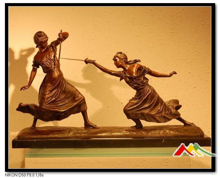 """""""FEMMES FATALES"""" Fencing Foil, E.Drouot Bronze Statue"""