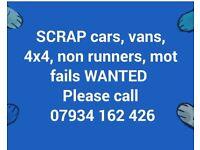 Wanted scrap mot fails cars vans 4x4