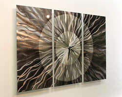 Statements2000 Large Abstract Metal Wall Clock Art Panels by Jon Allen Obsidian