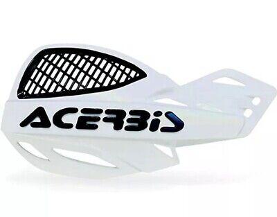 ACERBIS UNIKO VENTED HANDGUARDS WHITE BLACK MOTOCROSS MX ENDURO PAIR + KIT