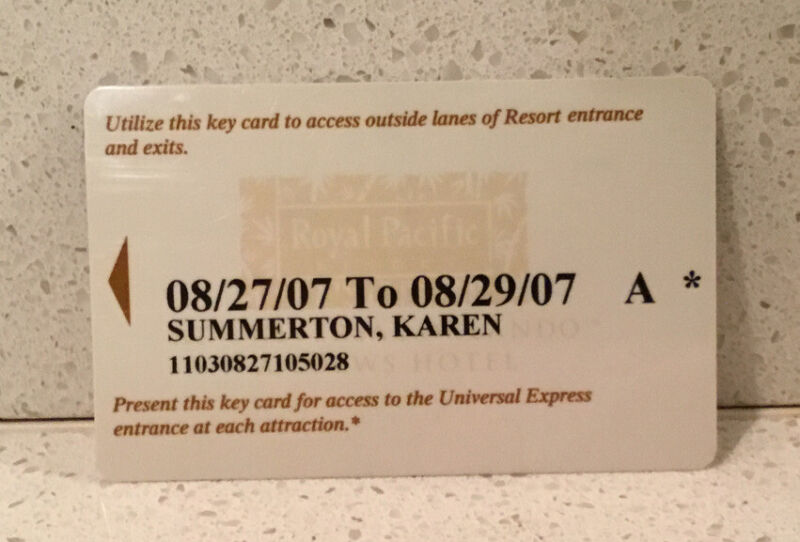 Royal Pacific Resort Hotel Key Card Orlando Loews Hotel 2007 Universal Studios