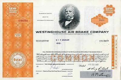 1968 Westinghouse Air Brake Stock Certificate