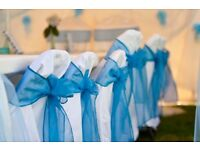 **LYCRA IVORY/WHITE/BLACK WEDDING CHAIR COVER & TABLE CLOTH HIRE** Nationwide delivery ***