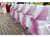 WEDDING from 30P CHAIR COVER /SASH & TABLE CLOTH HIRE** Nationwide Delivery **FREE TABLE RUNNERS***