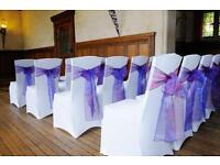WEDDING / PROM BANQUET LYCRA CHAIR COVER HIRE **NATIONWIDE DELIVERY*** FREE FAVOURS FOR TOP TABLE***