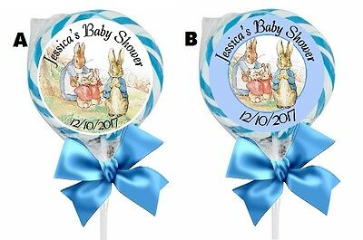 PETER RABBIT LOLLIPOP ROUND BABY SHOWER PARTY STICKERS FAVORS 1.5