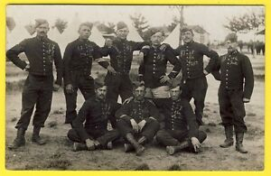 cpa-CARTE-PHOTO-Militaires-Soldats-145eme-Regiment-Camp-Militaria