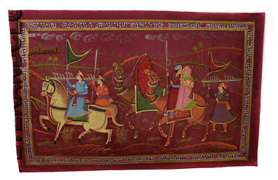 Hanging Wall Painting Mughal on Silk Art Scene de Life India 72x47cm 29