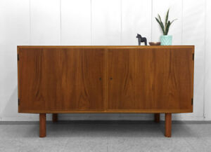 Vintage Danish Solid Teak Locking Credenza