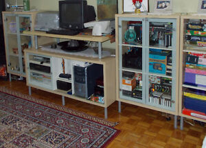 Book shelves and TV stand