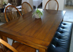 Wood dining set (Table, 4 chairs, bench, buffet)