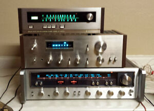 Old stereo equipment and records - amps, speakers, turntables