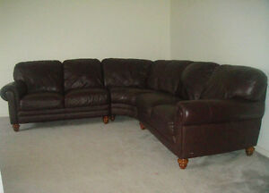 """Natuzzi Edition""Classic 100% Leather Sectional, Paid Over $7300"