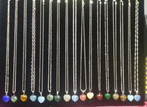 18 inch 925 sterling silver, natural heart shaped stone