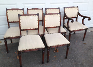 ~ SIX Beautiful Vintage Dining Table Chairs ~ NO TABLE ~