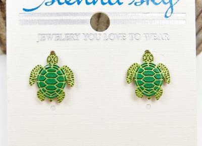 Sienna Sky Green Turtle Pierced Post Stud Earrings Handmade In Usa Cute