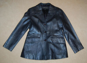 London Fog Women's Leather Blazer Jacket in Metallic Blue Size S
